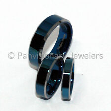 4mm Tungsten Carbide Ring Wedding Band Polished Blue IP Flat Natural Bevel Edge