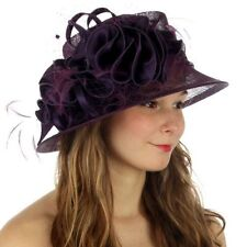 Kentucky Derby Church Wedding Sinamay Dress Hat N9 Purple