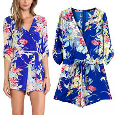 Bohemia Colorful Floral Print V-Neck 3/4 Sleeve Jumpsuit Playsuit Romper Shorts