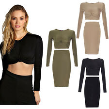 Ladies Womens Celeb Kim Kardashian Knotted Crop Top Bodycon Skirt Midi Co-Ord