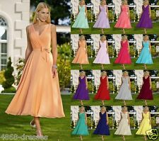 Formal V-neck Tea Length Evening Ball Gown Party Prom Bridesmaid Dress Size 6-18