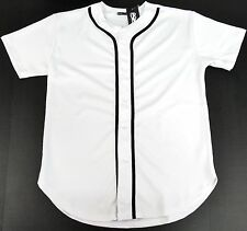 BASEBALL JERSEY T-shirt Blank Full Button Plain Solid Color Adult S-XL White NWT