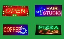 SUPER BRIGHT LED FLASHING SIGNS.OPEN PIZZA COFFEE HAIR STUDIO 53x31cm( S.OFFER).