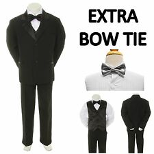 New Teen Boy Black FORMAL Wedding Prom Party Tuxedo Suit + Silver Bow Tie 16-20