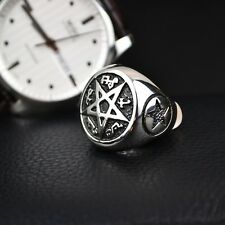 HOT MEN'S Wicca Pentacle Magic Pentagram Star 316L Stainless Steel Biker Ring
