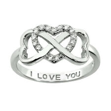 Sterling Silver 14k White Gold Infinity Cubic Zirconia Heart I LOVE YOU RING