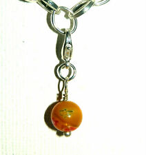 EUROPEAN OR LOBSTER CLASP CLIP ON STYLE ORANGE MILLEFIORI GLASS BEAD DROP CHARMS