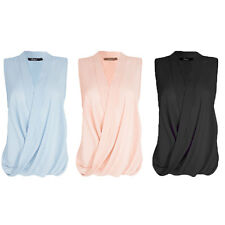 Elegant Ladies Sleeveless Blouse TOPS Size8-18-24 Wrap Business Work Top T-shirt