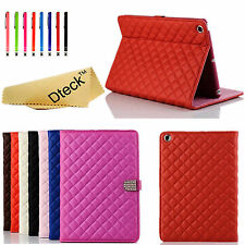 Bling Diamond Crystal Quilted Stand Leather Case Cover For Apple iPad Mini 1 2 3