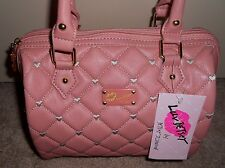Betsey Johnson Quilted Light Pink Crocheted TOUCH MY HEART Satchel Retail $68