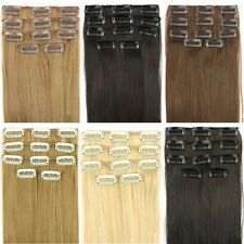 "24"" 62cm Women Long Straight 5 Pieces Clip In On Full Head Hair Extension 7Color"