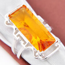 Trendy Jewelry Shine Brazil Citrine Gems Silver Plated Rings 7 8 9