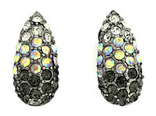 Charming Vintage Austrian Crystals Clip-On Earrings-E139