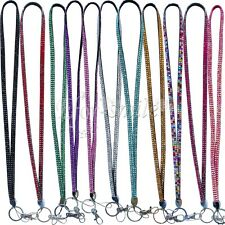 LONG Rhinestone Bling Crystal Key Chain Lanyard Neck ID Badge Cell Phone Holder