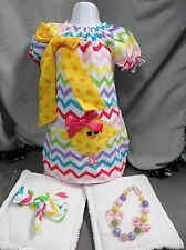1 Easter Chick Chevron Dress Set your choice accesories or not   Outfit Size 1-7