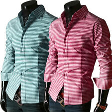 6 Colors Men's Luxury Stylish Casual Dress Grid Plaid Slim Fit Shirts Tee Tops 1