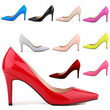New Women Ladies Pointed Toe High Heel Patent leather Pumps Court Shoes US 4-11