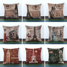45*45cm Vintage World London Paris New York Famous Building Linen Cushion Cover