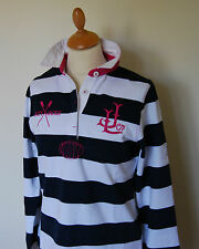 Lazy Jacks Striped Ladies Polo Rugby Shirt, LJ51E in Navy and White Stripes New