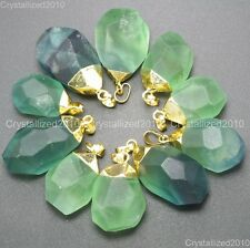 Natural Gemstone Green Fluorite Chunky Cabochon Pendant Charm Necklace Bead Gold