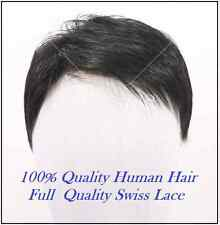 """100% human hair replacement system men mens wig wigs toupee hairpiece 8*9"""",7*8"""""""