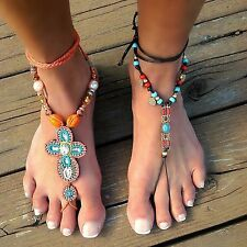 Boho Hippie Beach Barefoot Sandal Ankle Jewelry Beaded Adjustable Wrap 2 Styles