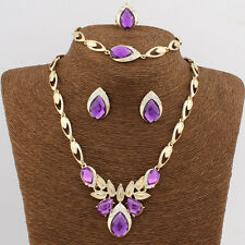 4 Colors Hot Women 18K Gold Plated Austrian Crystal Drop Necklace Jewelry Set