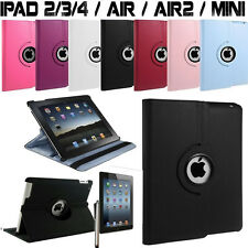 FUNDA CARCASA PIEL IPAD 2/3/4/5 AIR IPAD MINI ROTATIVE 360°+PUNTERO+FILM PROTECT
