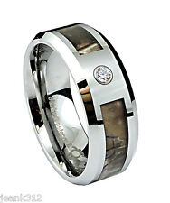 Diamond Tungsten Carbide Wedding Band Ring 8mm Modern Men's Camo Inlay 0.05ct