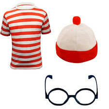 MENS BOYS BOOK WEEK RED AND WHITE STRIPED T-SHIRT WHERES STRIPE TOP HAT LOT