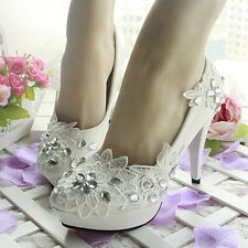 NEW Womens White Wedding Shoes Stilettos High Heels Lace&Rhinestone Bridal Shoes
