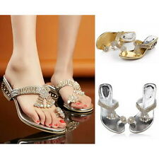 Womens Sexy Crystal Ring Toe Post Sandals Chunky Mid Heels Pumps Mules Shoes