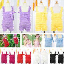 Fashion Baby Girls Lace Posh Petti Ruffle Rompers clothes with strap 0-3Y