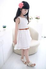 NWT White Girl Baby Princess Wedding Party Pageant Belt Lace Dress Skirt V22W