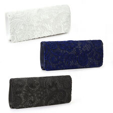 Ladies Floral Flower Satin Lace Wedding Evening Party Clutch Bag