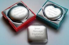 Personalised Engraved Handbag Compact Mirror Birthday Wedding Bridesmaid Gift