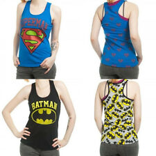 Superman, Wonder Woman, Batman Allover Dc Comics Junior Racer Tank Top Shirt