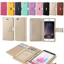 Dual Bifold Photo Card Holder Cash Wallet Leather Book Flip Case Cover for Phone