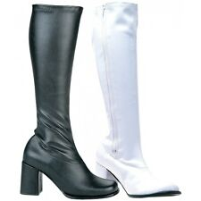 GoGo Boots Adult Womens Chunky High Heel Shoes 60s/70s Costume Fancy Dress
