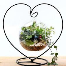 White/Black Heart-shaped Iron Hanging Plant Stand Holder for Landscaping Garden