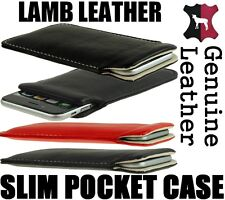 SLIM POCKET CASE REAL GENUINE LAMB LEATHER SLEEVE COVER POUCH APPLE IPHONE 6  6s