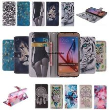 Cute Magnetic Double Painted PU Leather Flip Wallet Case Cover Stand For Samsung