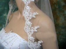White or Ivory Elbow Bridal Wedding Veil With Comb Lace Applique Edge