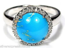 Genuine American Sleeping Beauty Turquoise 925 Sterling Silver Ring size 7