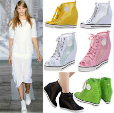 Womens Open Toe High Top Roma Mesh Wedge Heels Sneakers Hollow Out Boots Sandals