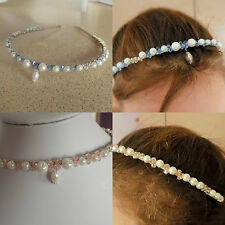 Pearl Tiara glass BEAD silver plated pink blue white HAIR ACCESSORY bridal/prom