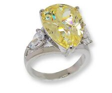 THE LOOK OF REAL  5CT YELLOW CANARY PEAR & CLEAR CUBIC ZIRCONIA RING BRIDAL