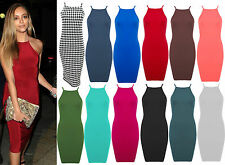 New Womens Bodycon Strappy Bralet Midi Party Dress Ladies High Square Neck 8-14