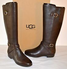 New $295 UGG Australia W Beryl Brown Stout Leather Flat RIding Tall Boot