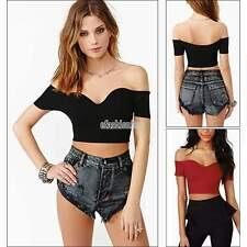 Ladies Women Off The Shoulder Crop Top Shirts Blouse Sexy Skintight T-shirt Vest